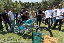 Ringo Chop Shop's Martin Carlgren's 1947 SRM (Swedish Racing Motor) completely handbuilt (including the motor) 1,000 cc chopper at the Born Free 9 Motorcycle Show at Oak Creek Ranch. Silverado, CA. USA. Saturday June 24, 2017. Photography ©2017 Michael Lichter.