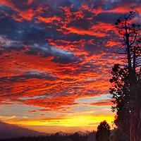 Sunset in Big Bear, California, on the lake.