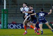 Sale Sharks centre Sam Hill tackles Edinburgh Rugby full-back Blair Kinghorn during the European Champions Cup match Sale Sharks -V- Edinburgh Rugby at The AJ Bell Stadium, Greater Manchester,England United Kingdom, Saturday, December 19, 2020. (Steve Flynn/Image of Sport)