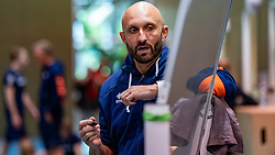 07-05-2019 NED: Press moment national volleyball team Men, Arnhem<br /> Roberto Piazza, the new national coach of the Dutch men's team, gives an overview of the group matches of the Golden European League, the OKT and the European Championship played in their own country / Jamie Morrison, coach Dutch women volleyball team