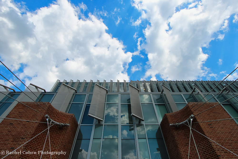 """""""Sky Watcher""""<br /> <br /> Reflections, deflectors, glass, bricks and cables all on the front of the science building at Eastern Michigan University!!<br /> <br /> Architecture: Structures and buildings by Rachel Cohen"""