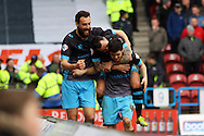 Fernando Forestieri of Sheffield Wednesday (r) celebrates with his teammates after scoring his teams 1st goal. Skybet football league Championship match, Huddersfield Town v Sheffield Wednesday at the John Smith's Stadium in Huddersfield, Yorkshire on Saturday 2nd April 2016.<br /> pic by Chris Stading, Andrew Orchard sports photography.
