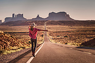 Holly Kert, hitchhiking, Highway US 163, Forrest Gump Point, San Juan County, Utah