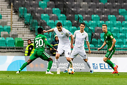 Marko Cosic of NK Rudar Velenje and Klemen Bolha of NK Rudar Velenje vs Boakye Eric of NK Olimpija Ljubljana during football match between NK Olimpija Ljubljana and NK Rudar Velenje in 25rd Round of Prva liga Telekom Slovenije 2018/19, on April 7th, 2019 in Stadium Stozice, Slovenia Photo by Matic Ritonja / Sportida