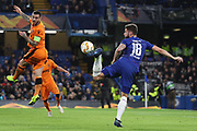 Olivier Giroud of Chelsea (18) controlling the ball during the Champions League group stage match between Chelsea and PAOK Salonica at Stamford Bridge, London, England on 29 November 2018.