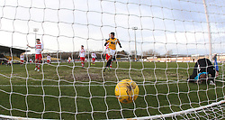 East Fife's Nathan Austin watches Kevin Smith's goal (not in pic). <br /> East Fife 1 v 0 Stirling Albion, Scottish Football League Division Two game played atBayview Stadium, 20/2/2106.