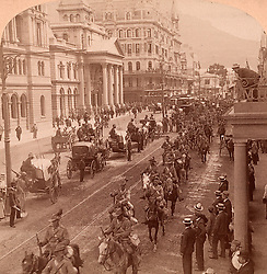 July 4, 2019 - South African Light Horse coming down Adderly Street, to entrain for the front, Cape Town, South Africa. Vintage photography 1900, Vintage photography. (Credit Image: © Album via ZUMA Press)
