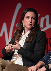 EDITORIAL USE ONLY<br /> Emma Sinclair, founder of EnterpriseJungle, speaks at the Virgin Disruptors conference, which discusses innovation and change across the business world, at The Mermaid Theatre, in London.