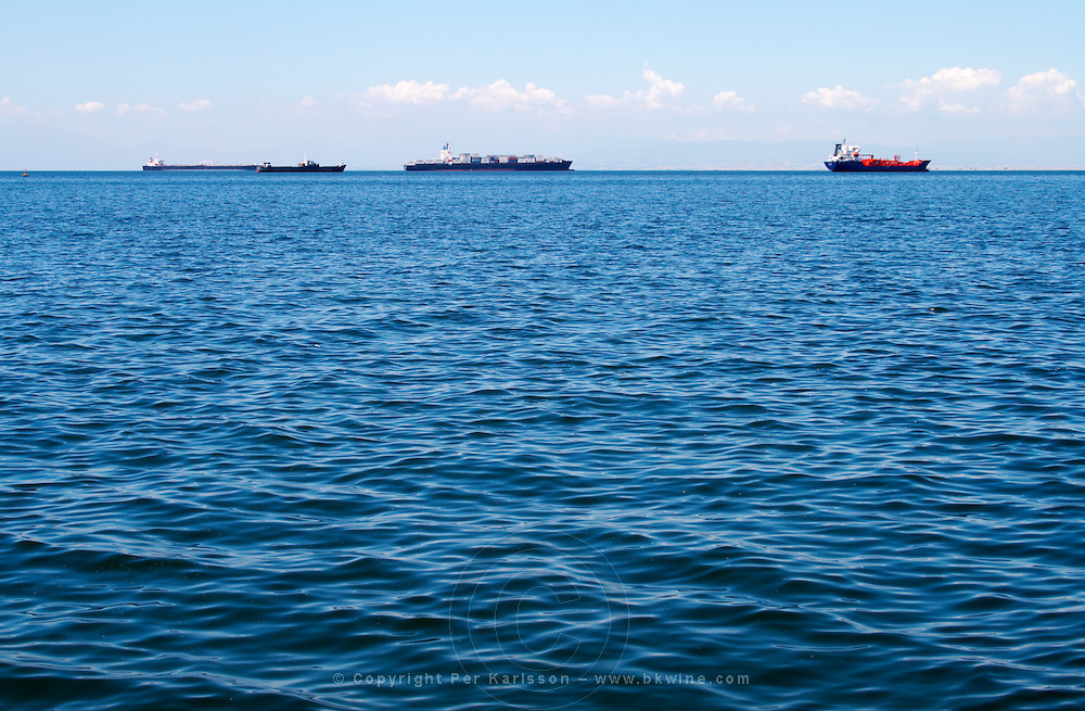 Ships in the harbour. Thessaloniki, Macedonia, Greece