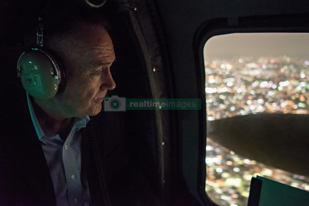 August 17, 2017 - Tokyo, Japan - U.S. Chairman of the Joint Chiefs Gen. Joseph Dunford looks out at Tokyo as he arrives by helicopter following his arrival in Japan August 17, 2017 in Tokyo, Japan. Dunford is in Japan to meet with Japanese leaders and to discuss defusing the situation in North Korea. (Credit Image: © Dominique Pineiro/Planet Pix via ZUMA Wire)