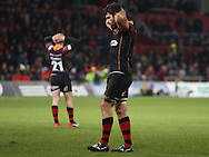 Nick Croswell of the Dragons looks dejected.<br /> Guinness Pro12 rugby match, Munster v Newport Gwent Dragons at Thomond Park in Limerick , Ireland on Saturday 5th March 2016.<br /> pic by  John Halas, Andrew Orchard sports photography.