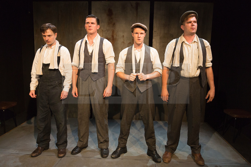 © Licensed to London News Pictures. 28/07/2015. London, UK. L-R: Salvatore D'Aquilla as Bob, James Wallwork as Arthur, Paul Tinto as Phil and Kieran Knowles as Tommy. World premiere of the play Operation Crucible at the Finborough Theatre. The play commemorates the 75th anniversary of the Sheffield Blitz and the 70th anniversary of the end of the Second World War with four men trapped in the rubble. The play by Kieran Knowles and directed by Bryony Shanahan runs at the Finborough Theatre from 28 July to 22 August 2015. With Salvatore D'Aquilla, Kieran Knowles, Paul Tinto and James Wallwork. Photo credit: Bettina Strenske/LNP
