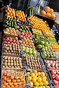 Local grocer 'Bora & Sons', a fruit and veg retailer, displays its produce outside its high street business on Lordship Lane in East Dulwich, on 25th October 2021, in London, England.