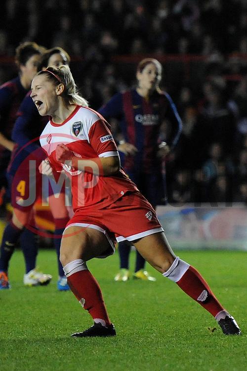 Bristol Academy Womens' Nikki Watts  celebrates her goal - Photo mandatory by-line: Dougie Allward/JMP - Mobile: 07966 386802 - 13/11/2014 - SPORT - Football - Bristol - Ashton Gate - Bristol Academy Womens FC v FC Barcelona - Women's Champions League