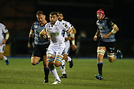 Callum Gibbins of Glasgow Warriors © makes a break.  Guinness Pro14 rugby match, Cardiff Blues v Glasgow Warriors Rugby at the Cardiff Arms Park in Cardiff, South Wales on Saturday 16th September 2017.<br /> pic by Andrew Orchard, Andrew Orchard sports photography.