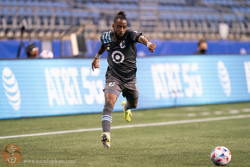 April 16, 2021; Seattle, Washington, USA; Minnesota United FC defender Romain Metanire (19) during the second half against the Seattle Sounders FC at Lumen Field.