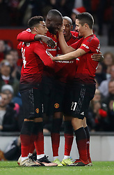 Manchester United's Romelu Lukaku celebrates scoring his side's fourth goal of the game during the Premier League match at Old Trafford, Manchester.