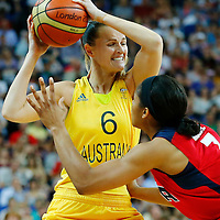 09 August 2012: Australia Jennifer Screen looks to pass the ball during 86-73 Team USA victory over Team Australia, during the women's basketball semi-finals, at the 02 Arena, in London, Great Britain.