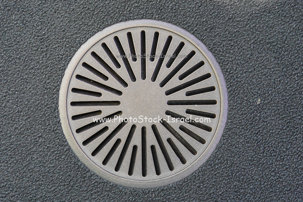 Ornamented manhole cover and drainage in Tokyo. Japan