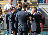 Football - 2017 FA Cup Final - Arsenal vs. Chelsea<br /> <br /> Santi Cazorla of Arsenal with Spanish colleagues from the Chelsea team Alonso, Fabregas and Pedro at Wembley.<br /> <br /> COLORSPORT/DANIEL BEARHAM