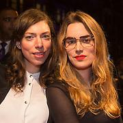 NLD/Amsterdam/20140307 - Boekenbal 2014, Hanna Bervoets en vriendin .....