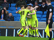 Huddersfield Town striker Harry Bunn  celebrates after scoring at the end of the first halfduring the Sky Bet Championship match between Brighton and Hove Albion and Huddersfield Town at the American Express Community Stadium, Brighton and Hove, England on 23 January 2016. Photo by Bennett Dean.