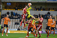 Wolverhampton Wanderers goalkeeper Emilio Martinez claims the cross during the Sky Bet Championship match between Wolverhampton Wanderers and Middlesbrough at Molineux, Wolverhampton, England on 24 October 2015. Photo by Alan Franklin.