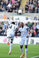 Swansea city's Roland Lamah (14) celebrates with Ashley Williams after he scores his sides 1st goal. Barclays Premier league match, Swansea city v West Bromwich Albion at the Liberty Stadium in Swansea, South Wales on Saturday 15th March 2014. pic by Andrew Orchard,  Andrew Orchard sports photography.