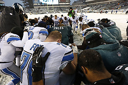 Philadelphia Eagles and Detroit Lions come together to pray after the NFL game between the Detroit Lions and the Philadelphia Eagles on Sunday, December 8th 2013 in Philadelphia. The Eagles won 34-20. (Photo by Brian Garfinkel)