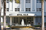 Art deco architecture at The Royal Palm Hotel, Collins Avenue, in Miami South Beach, Florida USA
