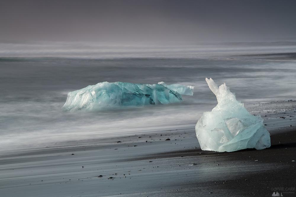 Icebergs on Jökulsárlón Beach in south-east Iceland