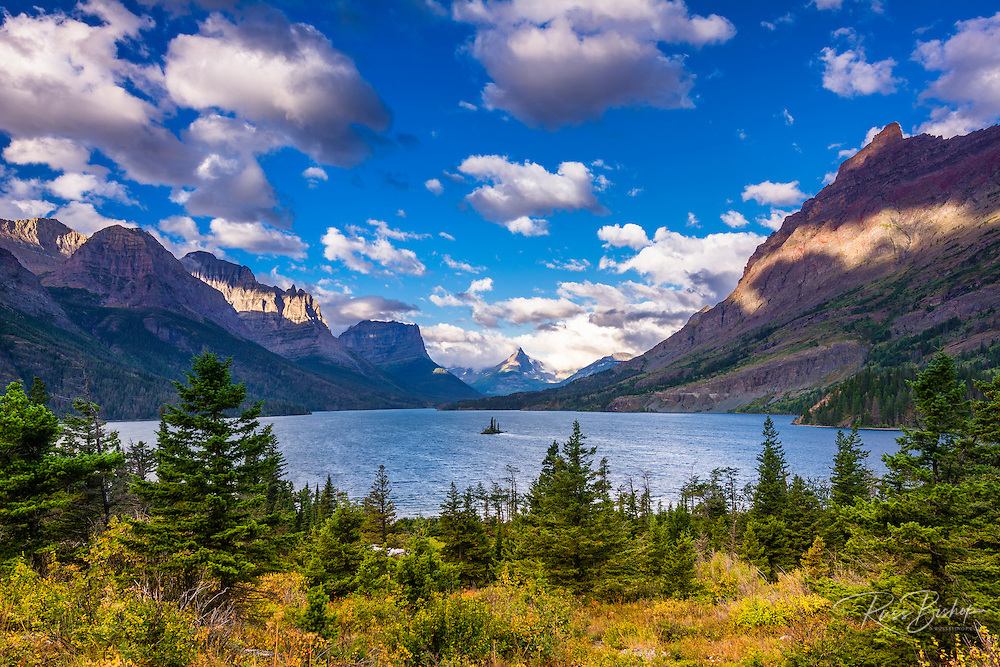 Saint Mary Lake and Wild Goose Island, Glacier National Park, Montana USA