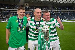 Celtic's James Forrest (left), Scott Brown (centre), Jonny Hayes pose with the trophy after the William Hill Scottish Cup Final at Hampden Park, Glasgow.