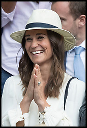 July 14, 2017 - London, London, United Kingdom - Image licensed to i-Images Picture Agency. 14/07/2017. London, United Kingdom. Pippa Middleton celebrates as Roger Federer wins his semi-final match at the Wimbledon Tennis Championships in London.  Picture by Stephen Lock / i-Images (Credit Image: © Stephen Lock/i-Images via ZUMA Press)