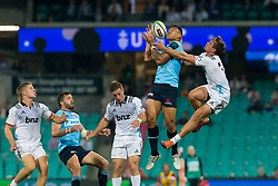 March 23, 2019 - Sydney, NSW, U.S. - SYDNEY, NSW - MARCH 23: Waratahs player Israel Folau (15) contests a arial ball with Hurricanes player Jordie Barrett (15) at round 6 of Super Rugby between NSW Waratahs and Crusaders on March 23, 2019 at The Sydney Cricket Ground, NSW. (Photo by Speed Media/Icon Sportswire) (Credit Image: © Speed Media/Icon SMI via ZUMA Press)
