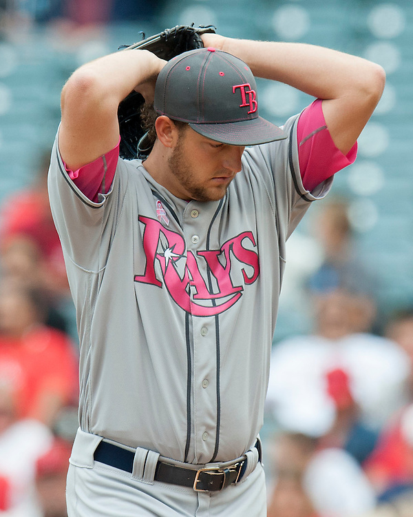Rays starting pitcher Matt Andriese, from Redlands, throws against the Angels Sunday at Angel Stadium.<br /> <br /> ///ADDITIONAL INFO:   <br /> <br /> angels.0509.kjs  ---  Photo by KEVIN SULLIVAN / Orange County Register  --  5/8/16<br /> <br /> The Los Angeles Angels take on the Tampa Bay Rays at Angel Stadium Sunday.<br /> <br />  5/8/16