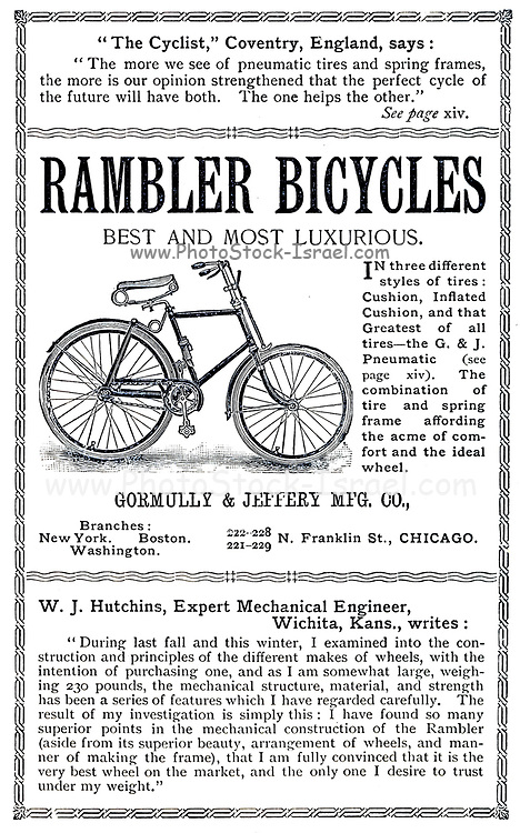 Advert for 'Rambler Bicycles' From Wheels and Wheeling; An indispensable handbook for cyclists, with over two hundred illustrations by Porter, Luther Henry. Published in Boston in 1892