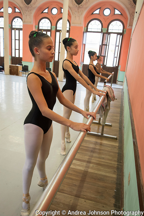 Students practice at the National ballet school in Havana, Cuba - the largest ballet school in the world and one of the most prestigious.