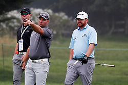 June 12, 2019 - Pebble Beach, CA, U.S. - PEBBLE BEACH, CA - JUNE 12: PGA golfer Ryan Fox on left talks to JB Holmes while playing the 15th hole during a practice round for the 2019 US Open on June 12, 2019, at Pebble Beach Golf Links in Pebble Beach, CA. (Photo by Brian Spurlock/Icon Sportswire) (Credit Image: © Brian Spurlock/Icon SMI via ZUMA Press)