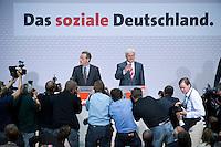 08 SEP 2008, BERLIN/GERMANY:<br /> Franz Muentefering (L), SPD, desig. Parteivorsitzender, und Frank-Walter Steinmeier (R), SPD, Bundesaussenminister und desig. Kanzlerkandidat, waehrend einer Pressekonferenz nach den Sitzungen von SPD Praesidium und Parteivorstand nach dem Ruecktritt von K urt B eck, Willy-Brandt-Haus<br /> IMAGE: 20080908-03-010<br /> KEYWORDS: Franz Müntefering, Kamera, Camera, Journalist, Journalisten
