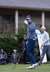 February 10, 2019 - Pebble Beach, CA, U.S. - PEBBLE BEACH, CA - FEBRUARY 10: Jordon Spieth acknowledges cheers from the crowd at Hole 1 tee in the final round of play at the AT&T Pebble Beach Pro-Am on Sunday, February 10, 2019 in Pebble Beach, CA. (Photo by Douglas Stringer/Icon Sportswire) (Credit Image: © Douglas Stringer/Icon SMI via ZUMA Press)