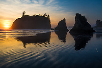 Sunset and beach reflections on Ruby Beach, Olympic National Park, Washington
