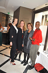 Left to right, JULIA BRANGSTRUP, LISA LOVATT-SMITH founder of OrphanAid Africa, LEIGH BRISTOW and TIFFANY PERSONS the founder and director of Shine On Sierra Leone at a lunch to launch Cash & Rocket on Tour 2013 hosted by Julia Brangstrup in aid of Orpan Aid and Shine on Sierrra Leone held at Banca, 40 North Audley Street, London on 29th April 2013.