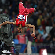 Jamie Nieto, USA, performs a back flip after failing at his third attempts during the Men's High jump competition at the Olympic Stadium, Olympic Park, during the London 2012 Olympic games. London, UK. 7th August 2012. Photo Tim Clayton