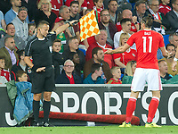 Football - 2017 / 2018 _Wales v Austria_FIFA World Cup Qualifier 2018<br /> <br /> Gareth Bale of Wales appeals to the linesman--- at Cardiff City Stadium.<br /> <br /> COLORSPORT/WINSTON BYNORTH