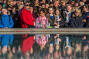 Thoughtful crowds around the fountain during the two minutes silence - Silence in the Square oraganised by the British Legion in Trafalgar Square  - 11 November 2016, London.