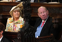 Nicola and George Brooksbank before the wedding of Princess Eugenie to Jack Brooksbank at St George's Chapel in Windsor Castle.