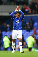 Ashley Williams of Everton looking dejected at the end of the game. Premier league match, Everton v Chelsea at Goodison Park in Liverpool, Merseyside on Sunday 30th April 2017.<br /> pic by Chris Stading, Andrew Orchard sports photography.