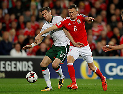 October 9, 2017 - Cardiff, Pays de Galles - Republic of IrelandÃ•s Stephen Ward in action with Wales' Andy King (Credit Image: © Panoramic via ZUMA Press)