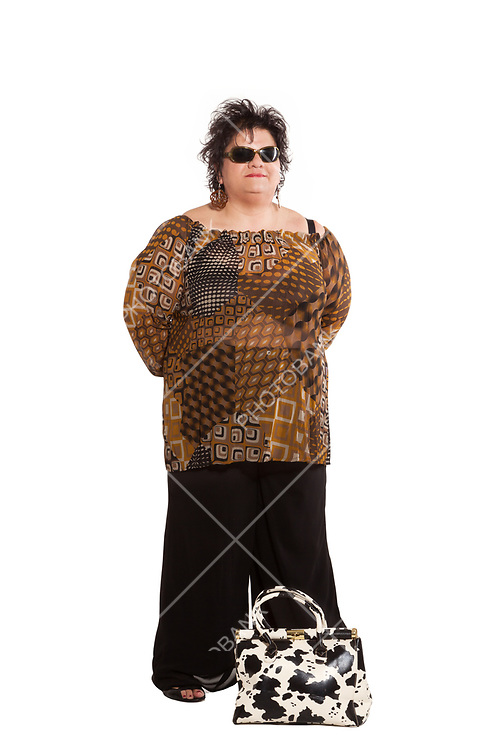 portrait of cheerful woman with her bags, isolated on white background